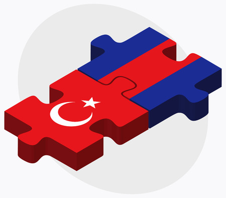 cambodian flag: Turkey and Cambodia Flags in puzzle  isolated on white background