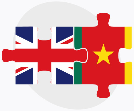 cameroonian: United Kingdom and Cameroon Flags in puzzle  isolated on white background