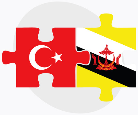 brunei darussalam: Turkey and Brunei Darussalam Flags in puzzle  isolated on white background