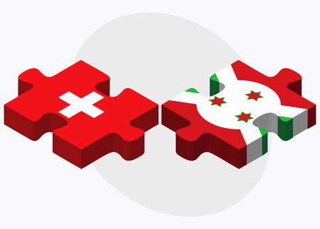 bujumbura: Switzerland and Burundi Flags in puzzle  isolated on white background