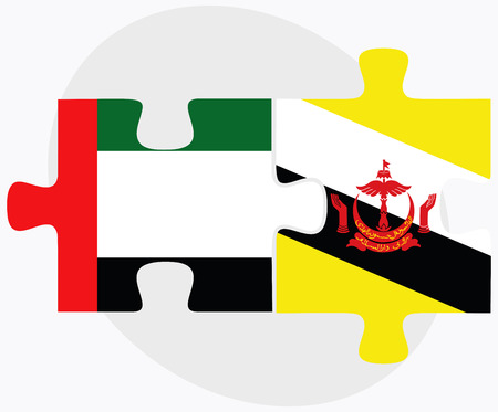brunei darussalam: United Arab Emirates and Brunei Darussalam Flags in puzzle  isolated on white background Illustration