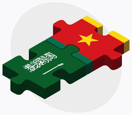 cameroonian: Saudi Arabia and Cameroon Flags in puzzle  isolated on white background