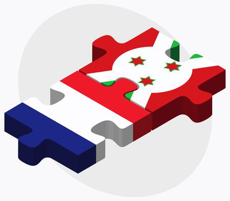 bujumbura: France and Burundi Flags in puzzle  isolated on white background