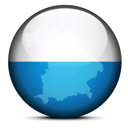 bavaria: Map on flag button of Bavaria, Germany