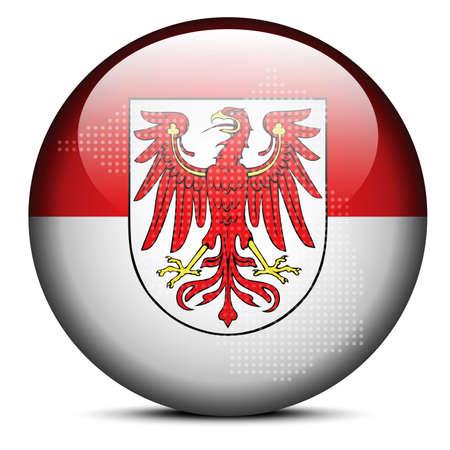 brandenburg: Map with Dot Pattern on flag button of Brandenburg, Germany