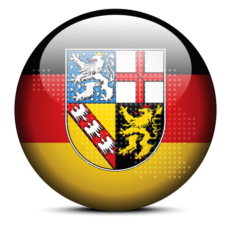 saarland: Map with Dot Pattern on flag button of Saarland, Germany