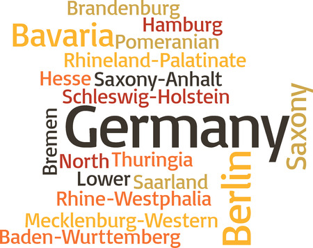 principal: illustration in word clouds of principal subdivisions of Germany