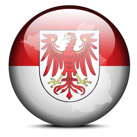 brandenburg: Map on flag button of Brandenburg, Germany