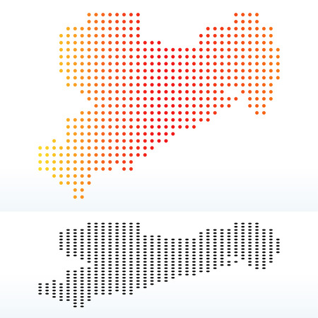 instance: Map of Saxony, Germany with Dot Pattern
