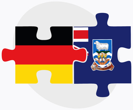 federal republic of germany: Germany and Falkland Islands Flags in puzzle isolated on white background