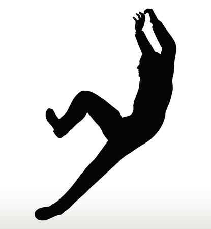 illustration in silhouette of  businessman underhanging