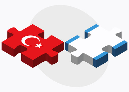 eurasian: Turkey and Guatemala Flags in puzzle isolated on white background