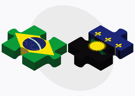 guadeloupe: Brazil and Guadeloupe Flags in puzzle isolated on white background Illustration