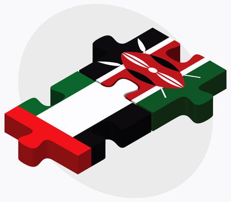 nairobi: United Arab Emirates and Kenya Flags in puzzle isolated on white background