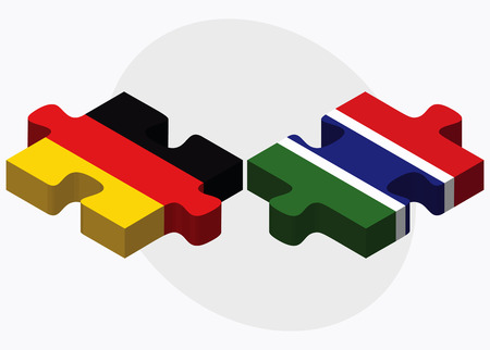 gambia: Germany and Gambia Flags in puzzle isolated on white background Illustration