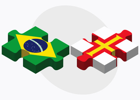 bailiwick: Brazil and Guernsey Flags in puzzle isolated on white background