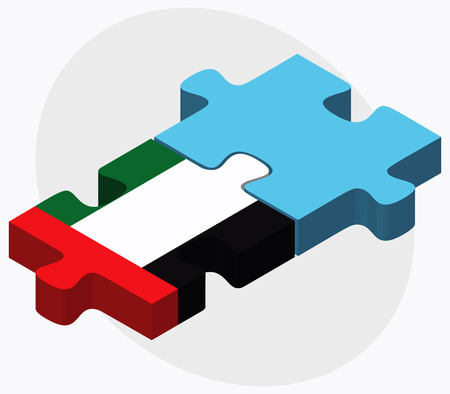 fiji: United Arab Emirates and Fiji Flags in puzzle isolated on white background Stock Illustratie