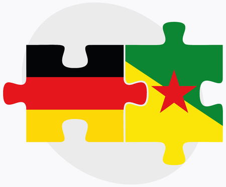 french guiana: Germany and French Guiana Flags in puzzle isolated on white background
