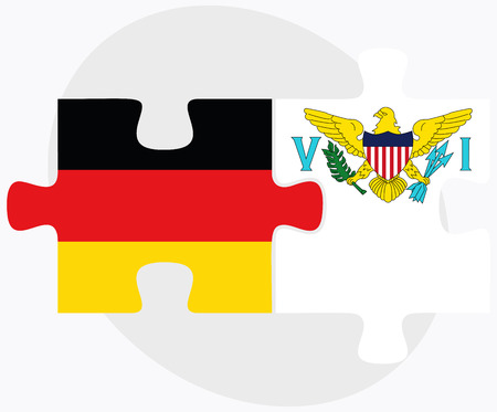 federal republic of germany: Germany and Virgin Islands (U.S.) Flags in puzzle isolated on white background