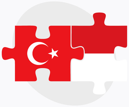 monegasque: Turkey and Monaco Flags in puzzle isolated on white background