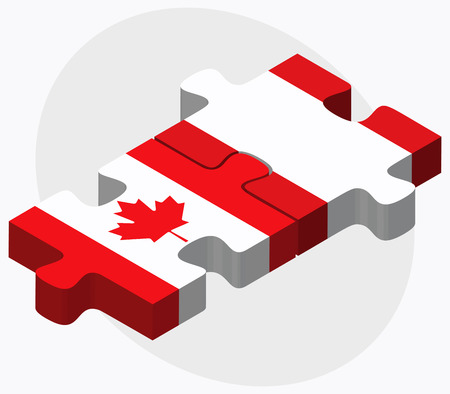 republic of peru: Canada and Peru Flags in puzzle isolated on white background
