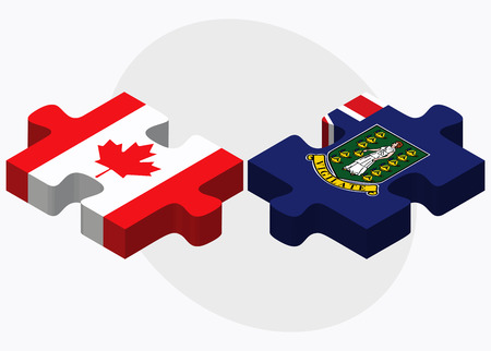 virgin islands: Canada and Virgin Islands (British) Flags in puzzle isolated on white background