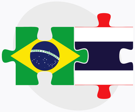 federative republic of brazil: Brazil and Thailand Flags in puzzle isolated on white background Illustration