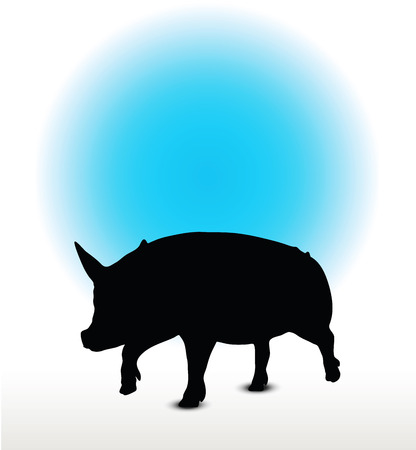 Vector Image, pig silhouette, in a trot position, isolated on white background