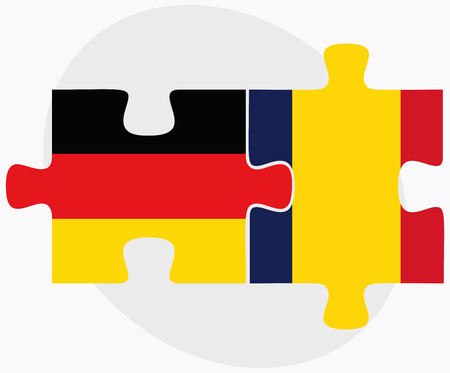 tchad: Germany and Chad Flags in puzzle  isolated on white background Illustration