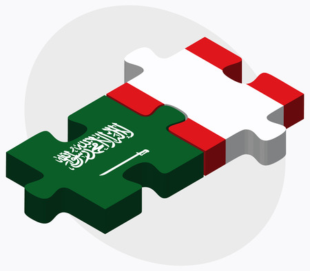 republic of peru: Saudi Arabia and Peru Flags in puzzle isolated on white background