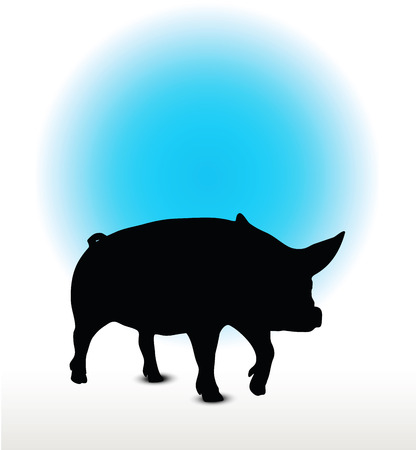 squealer: Vector Image, pig silhouette, in a walking position, isolated on white background Illustration
