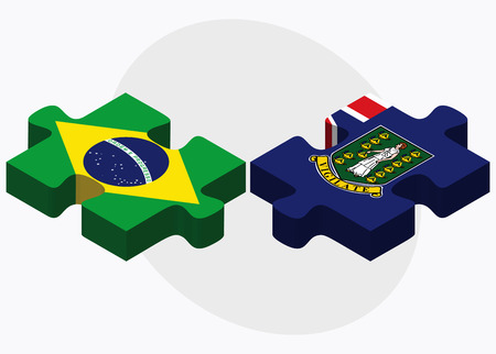 brazilian caribbean: Brazil and Virgin Islands (British) Flags in puzzle isolated on white background