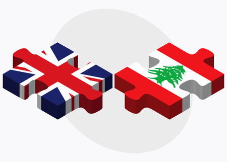 beirut: United Kingdom and Lebanon Flags in puzzle isolated on white background Illustration