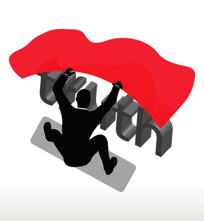охватывающей: illustration in silhouette of  businessman covering truth Иллюстрация