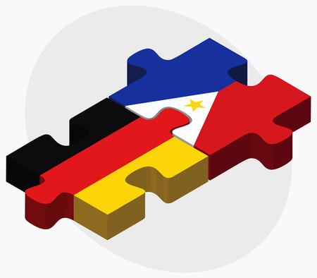 Duitsland en de Filippijnen Vlaggen in puzzel geïsoleerd op een witte achtergrond