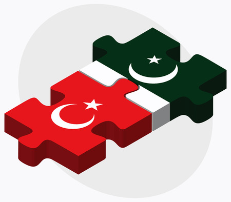 islamabad: Turkey and Pakistan Flags in puzzle isolated on white background