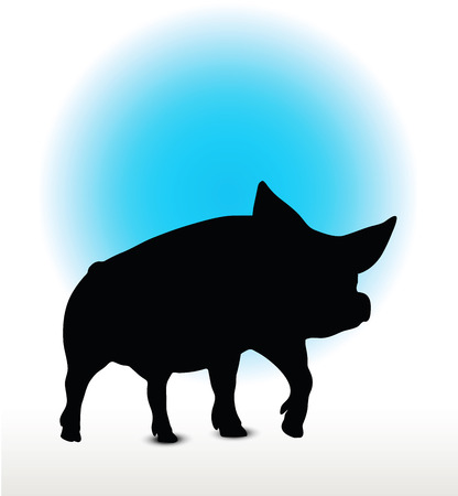 Vector Image, pig silhouette, in a walking position, isolated on white background Illustration