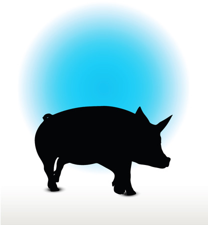 trotting: Vector Image, pig silhouette, in a trot position, isolated on white background