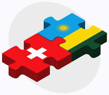 rwanda: Switzerland and Rwanda Flags in puzzle isolated on white background