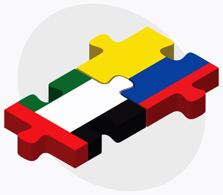 republic of ecuador: United Arab Emirates and Ecuador Flags in puzzle isolated on white background