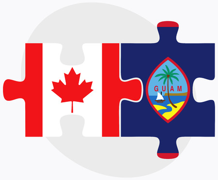 guam: Canada and Guam Flags in puzzle isolated on white background