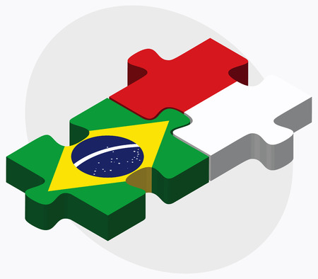monaco: Brazil and Monaco Flags in puzzle isolated on white background Illustration