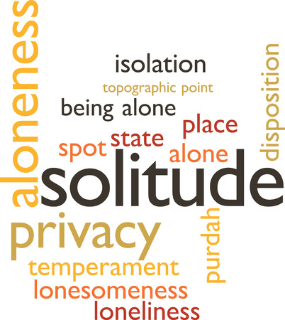 aloneness: illustration in word clouds of the word solitude