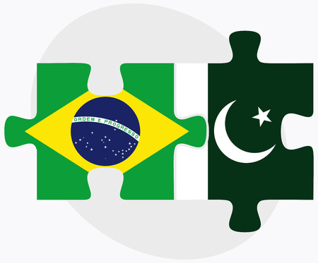 federative republic of brazil: Brazil and Pakistan Flags in puzzle isolated on white background Illustration