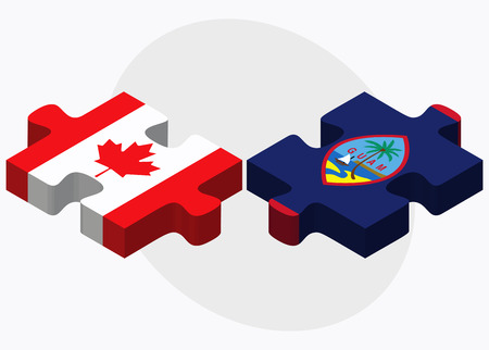 filipino: Canada and Guam Flags in puzzle isolated on white background