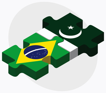 islamabad: Brazil and Pakistan Flags in puzzle isolated on white background Illustration