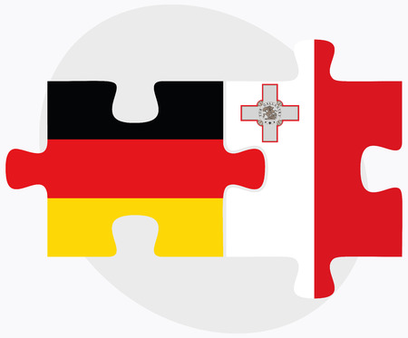 valletta: Germany and Malta Flags in puzzle isolated on white background