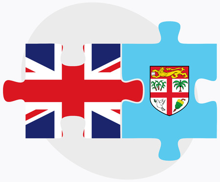 fijian: United Kingdom and Fiji Flags in puzzle isolated on white background