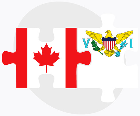 virgin islands: Canada and Virgin Islands (U.S.) Flags in puzzle isolated on white background
