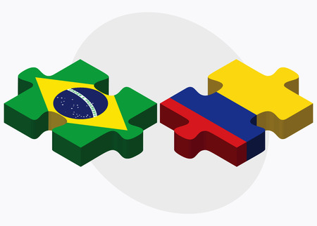 republic of colombia: Brazil and Colombia Flags in puzzle isolated on white background